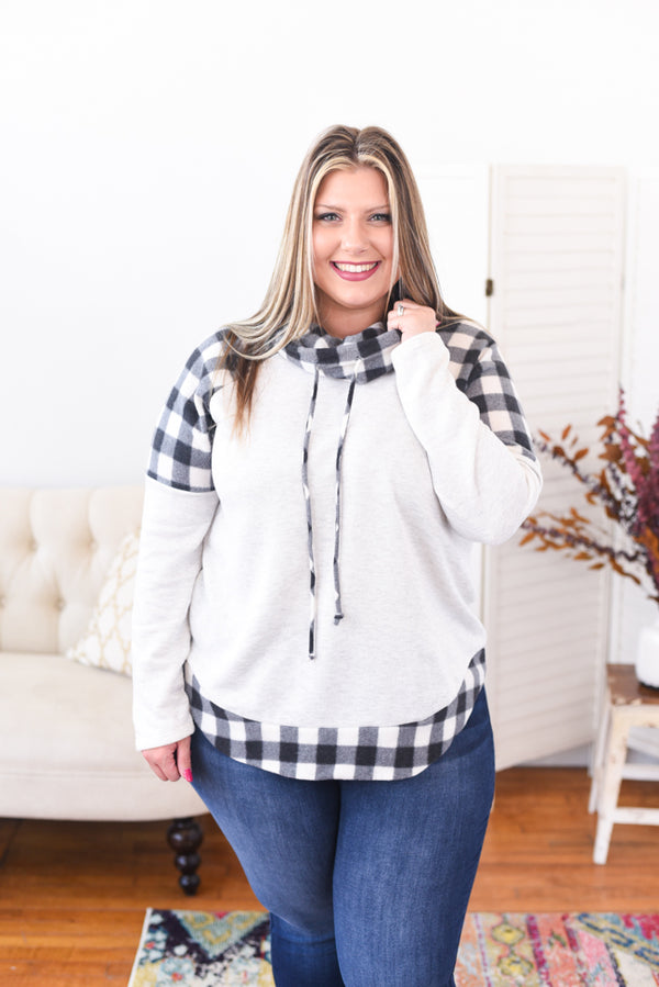 Plaid Cowl Neck Sweater - Curvy