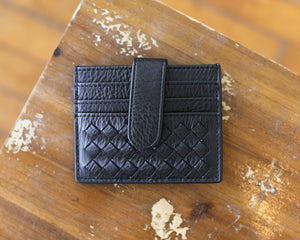 Vegan Leather Braided Credit Card Holder