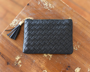 Vegan Leather Braided Coin Purse