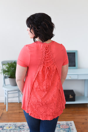 Maygen Lace Knit Top - Coral