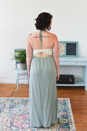 Legacie Halter Maxi Dress - Sage
