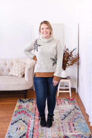 Star Print Cowl Neck Sweater