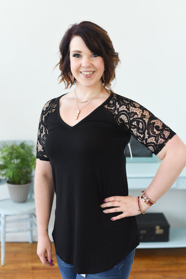 Everyday Lace V-Neck Top - Black