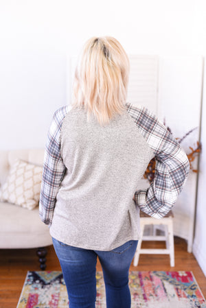 Spencer Lace-Up Plaid Top