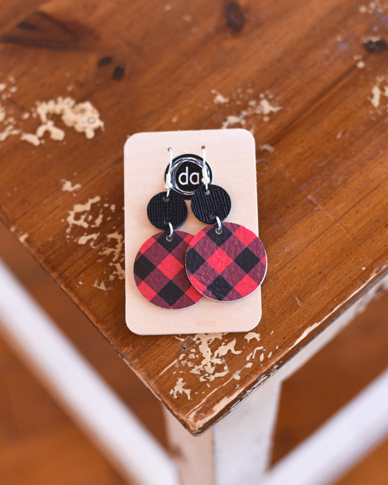 Deer Addie Buffalo Plaid Leather Earring - Drop