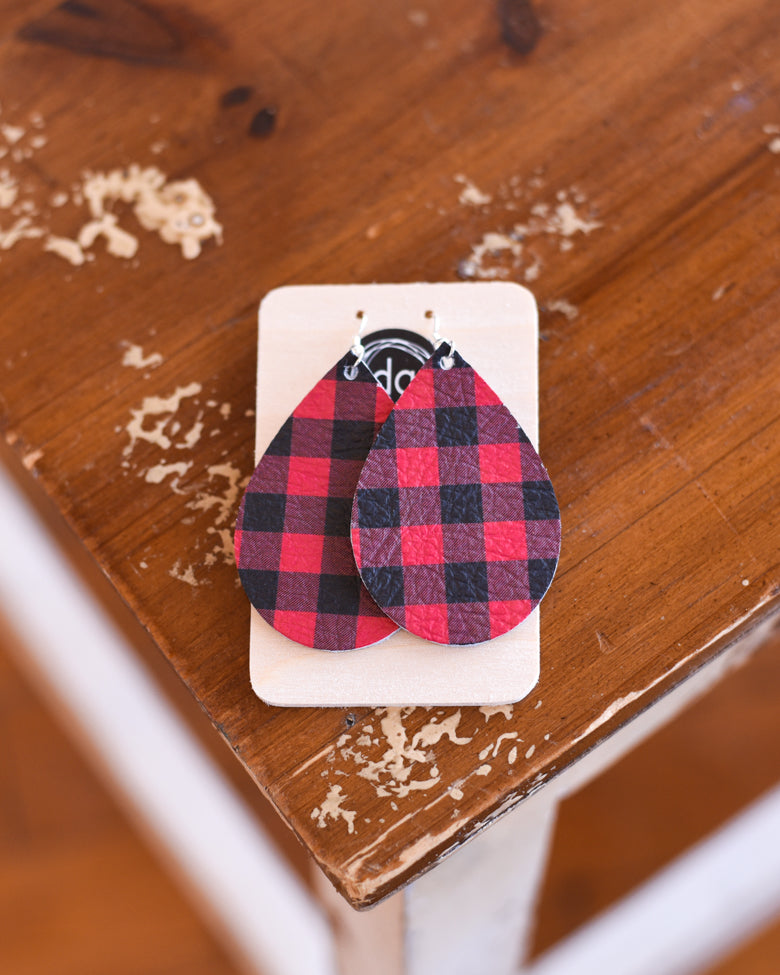 Deer Addie Buffalo Plaid Leather Earring - Teardrop