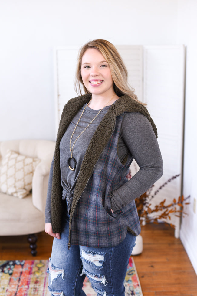 Plaid Reversible Sherpa Vest