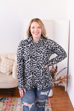 Belle Animal Print Cowl Neck Top