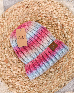 CC Beanie - Fuzzy Lined Ombre Knit