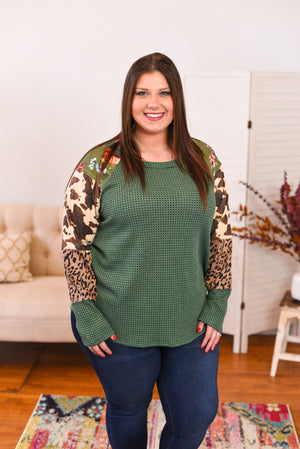 Briellah Mixed Media Top - Curvy
