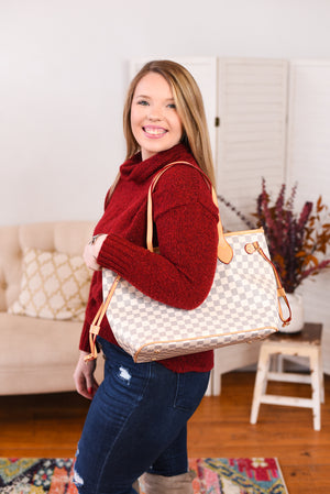 Luxy Checkered Tote w/ Matching Wristlet