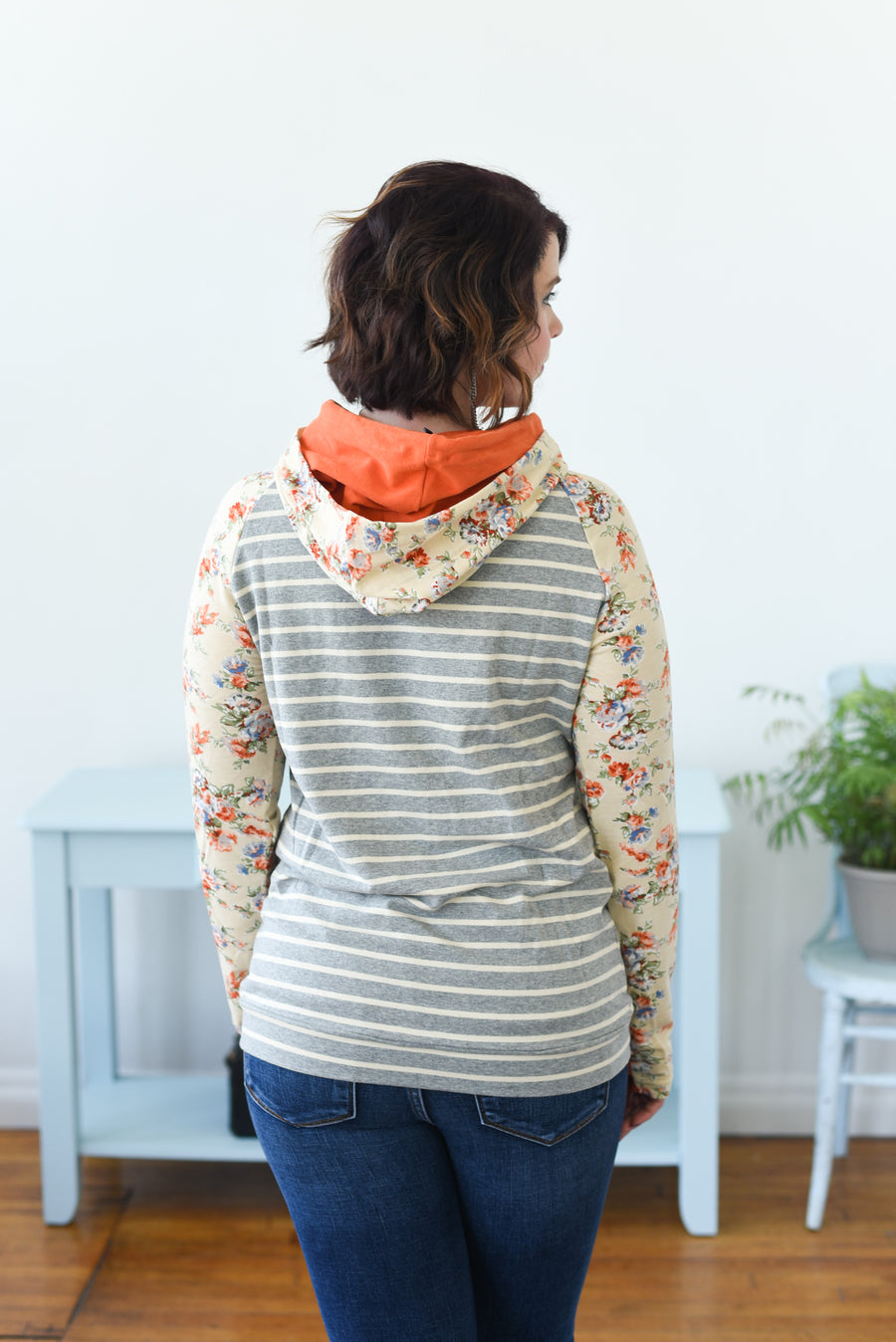 DoubleHood™ Sweatshirt -  Orange Floral Accent