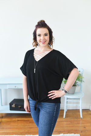 Grace Tie-Front Top - Black