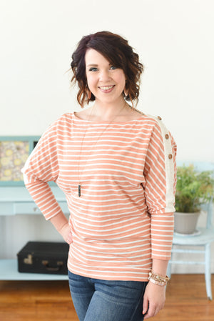 Ashlyn Striped Top - Dusty Peach