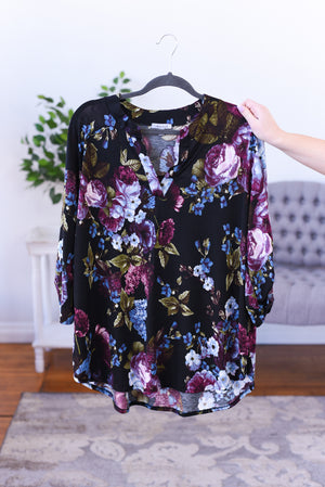 Self Made Floral Top - Black (Curvy)