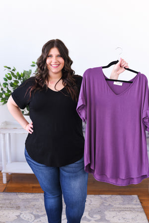 Cuff Sleeve Essential Top - Curvy (2 Colors)