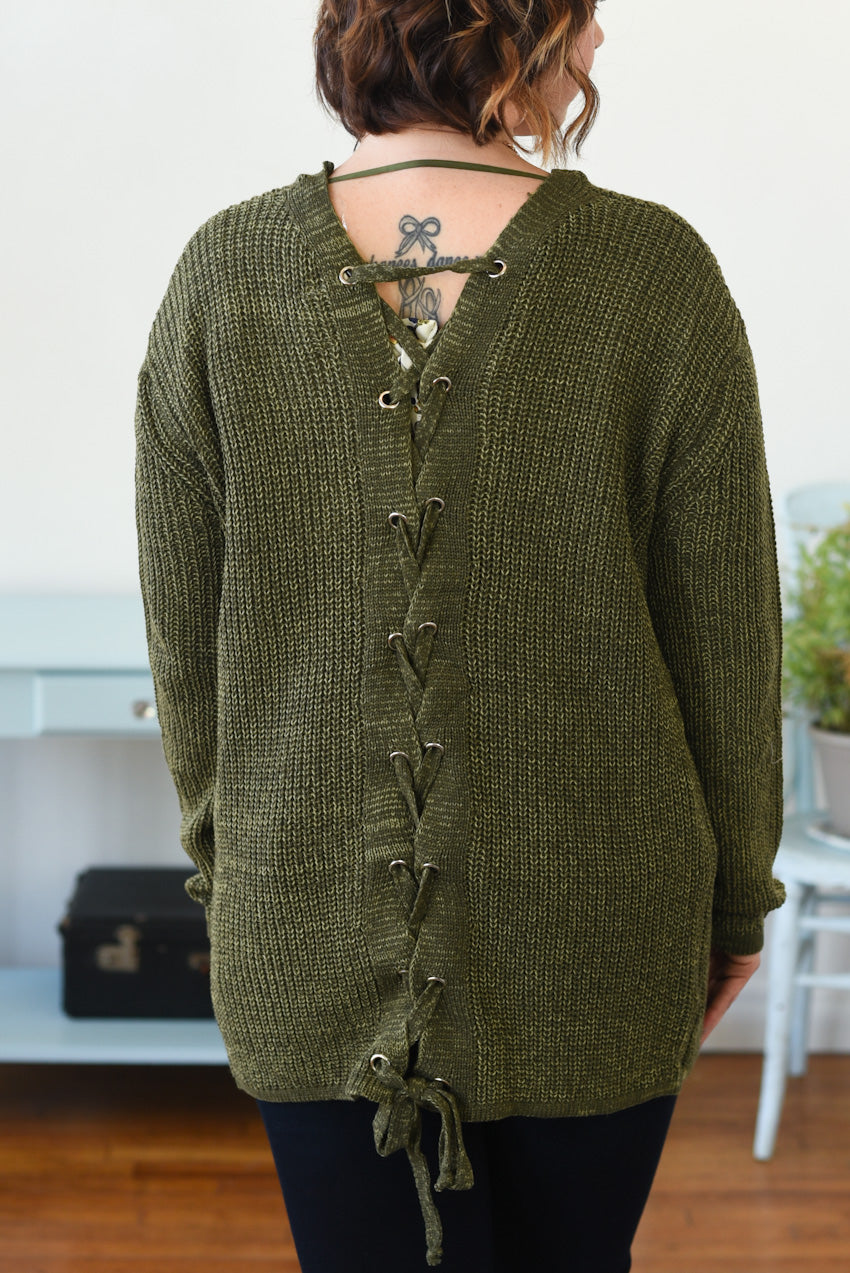 Bria Lace-Up Cardigan - Olive