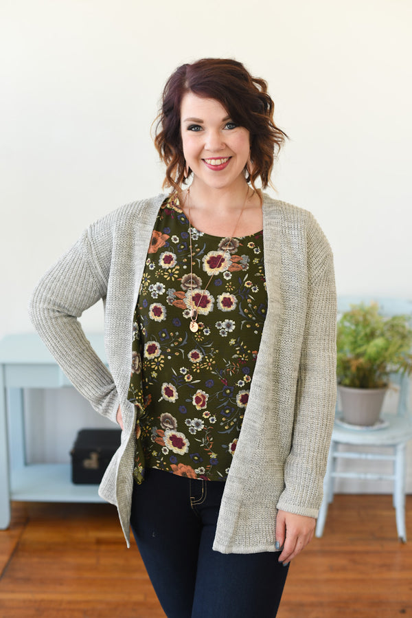 Bria Lace-Up Cardigan - Grey