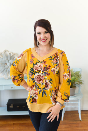 Maisee Puff Sleeve Top - Goldenrod Mix