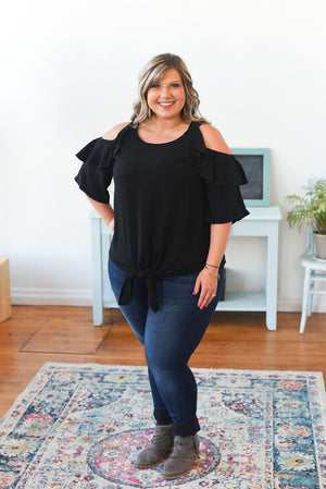Adette Linen Cold Shoulder Top