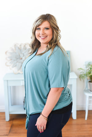 Everyday Tie-Front Top - Dusty Teal