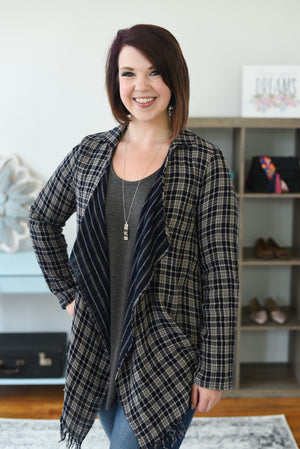 Noah Navy Plaid Cardigan