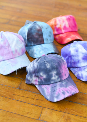 Tie Dye Criss-Cross High Pony Hat