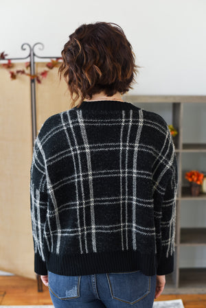 Silvia Plaid Pullover Sweater - Black
