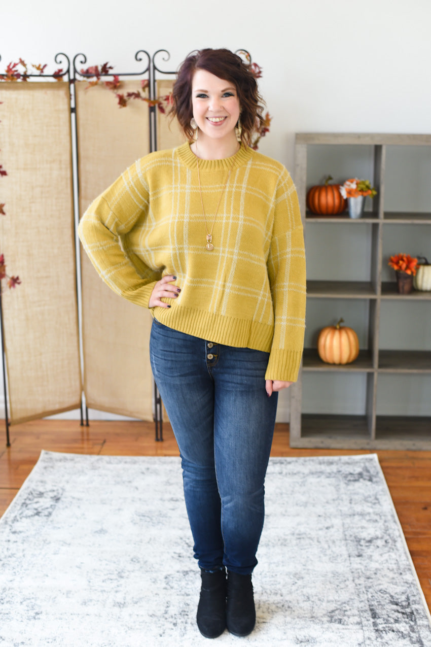 Silvia Plaid Pullover Sweater - Mustard