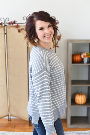 Maura Striped Sweater - Vintage Blue