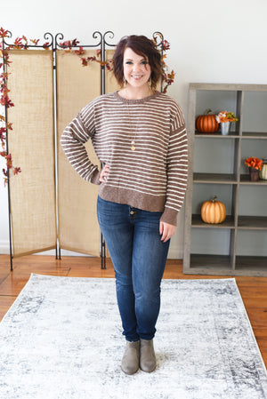Maura Striped Sweater - Mushroom