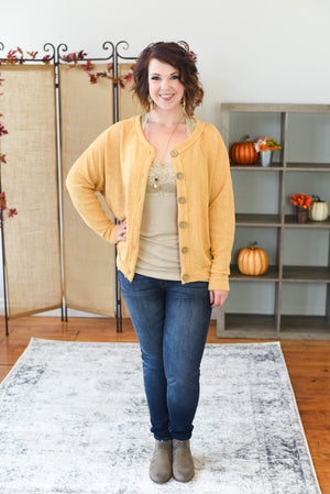 Delaney Button Down Cardigan - Honey Mustard