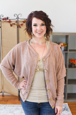 Delaney Button Down Cardigan - Mauve