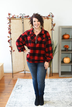 Buffalo Plaid Half Zip Pullover - Red