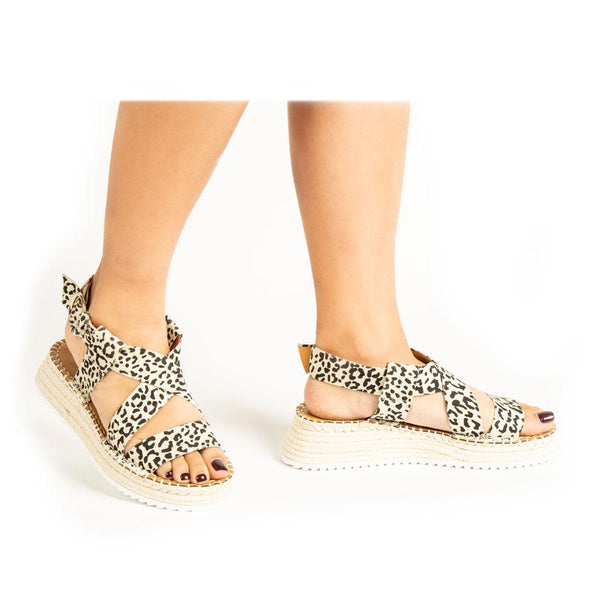 Madelyn Wedge Sandal - Leopard Canvas
