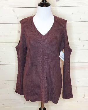 Mulberry Cold Shoulder Cable Knit Sweater