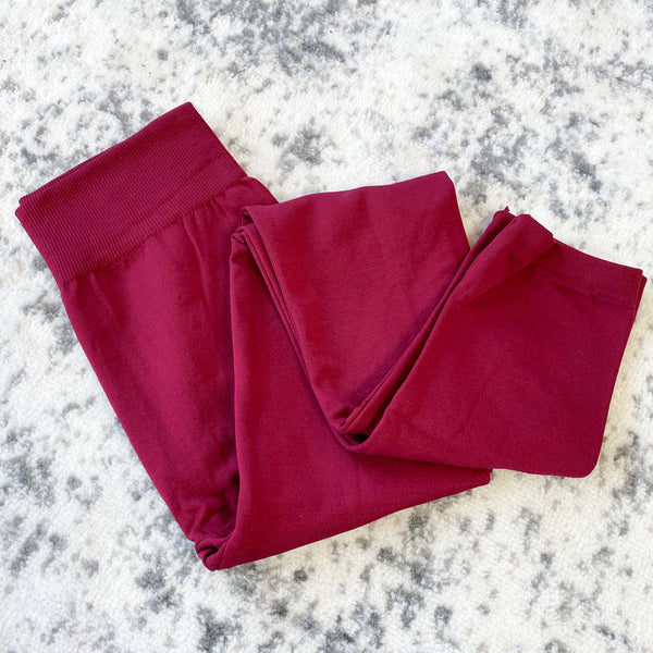 Fleece Lined Leggings - Wine
