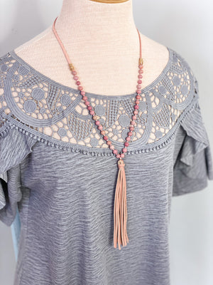 Averie Leather & Natural Stone Necklace