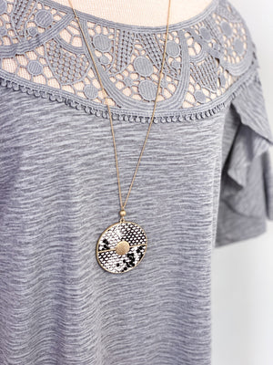Maci Snake Print Pendant Necklace