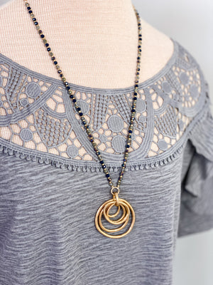 Zariah Hammered Metal Ring Necklace