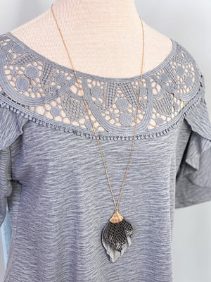 Mirha Leather Feather Necklace