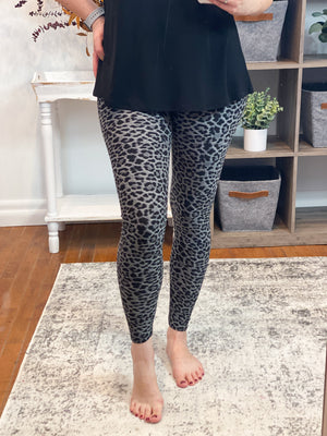 Grey Cheetah Print Everyday Leggings