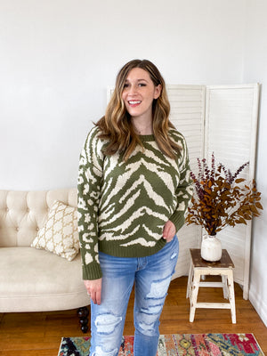 Veronica Mixed Print Sweater