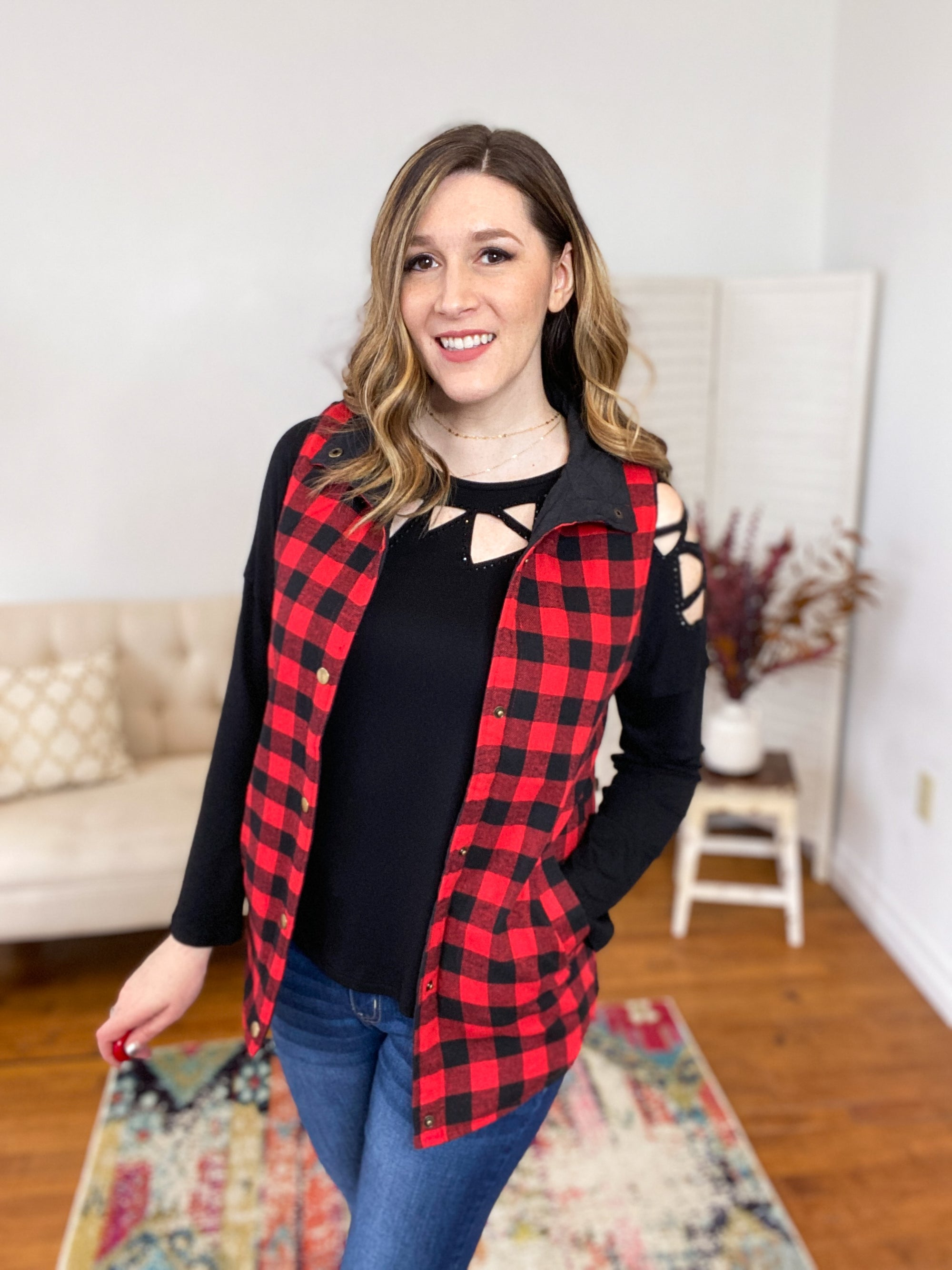 Minnie Reversible Buffalo Check Vest