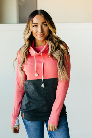 Cowl Neck Sweatshirt - Coral Colorblock