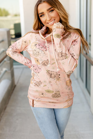 Cowl Neck Sweatshirt - Pretty In Pink