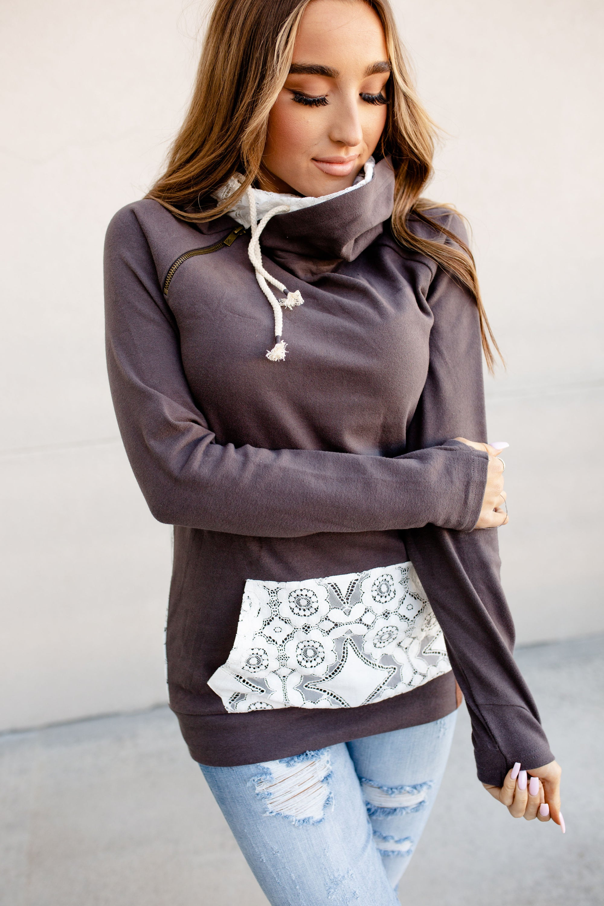 DoubleHood Sweatshirt -  Lace Accent - Charcoal