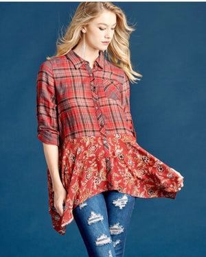 Mirabelle Plaid Button Down Top
