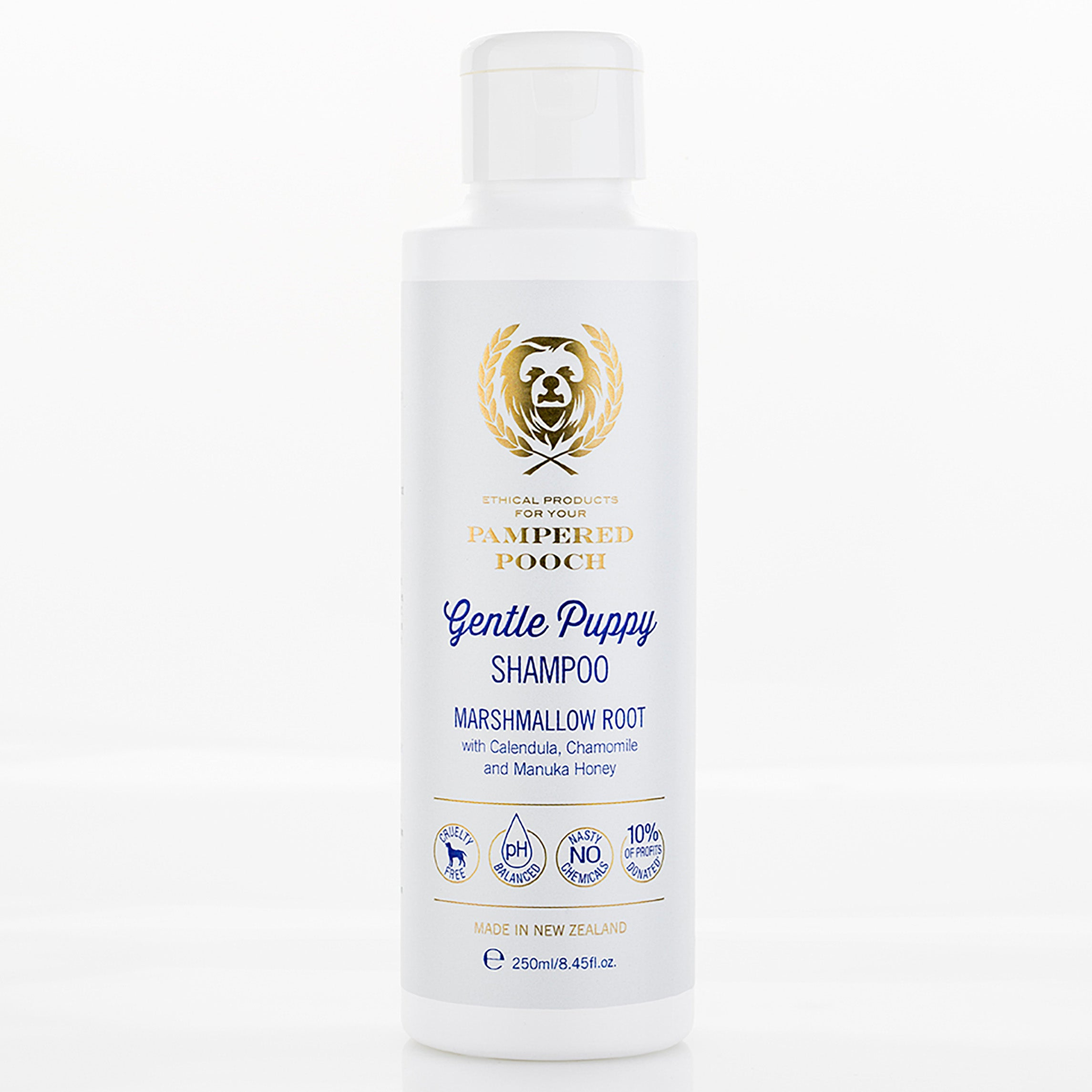Our luxe Gentle Puppy Shampoo for dogs is designed for delicate skin. It will keep Puppy's fur soft and smelling amazing.