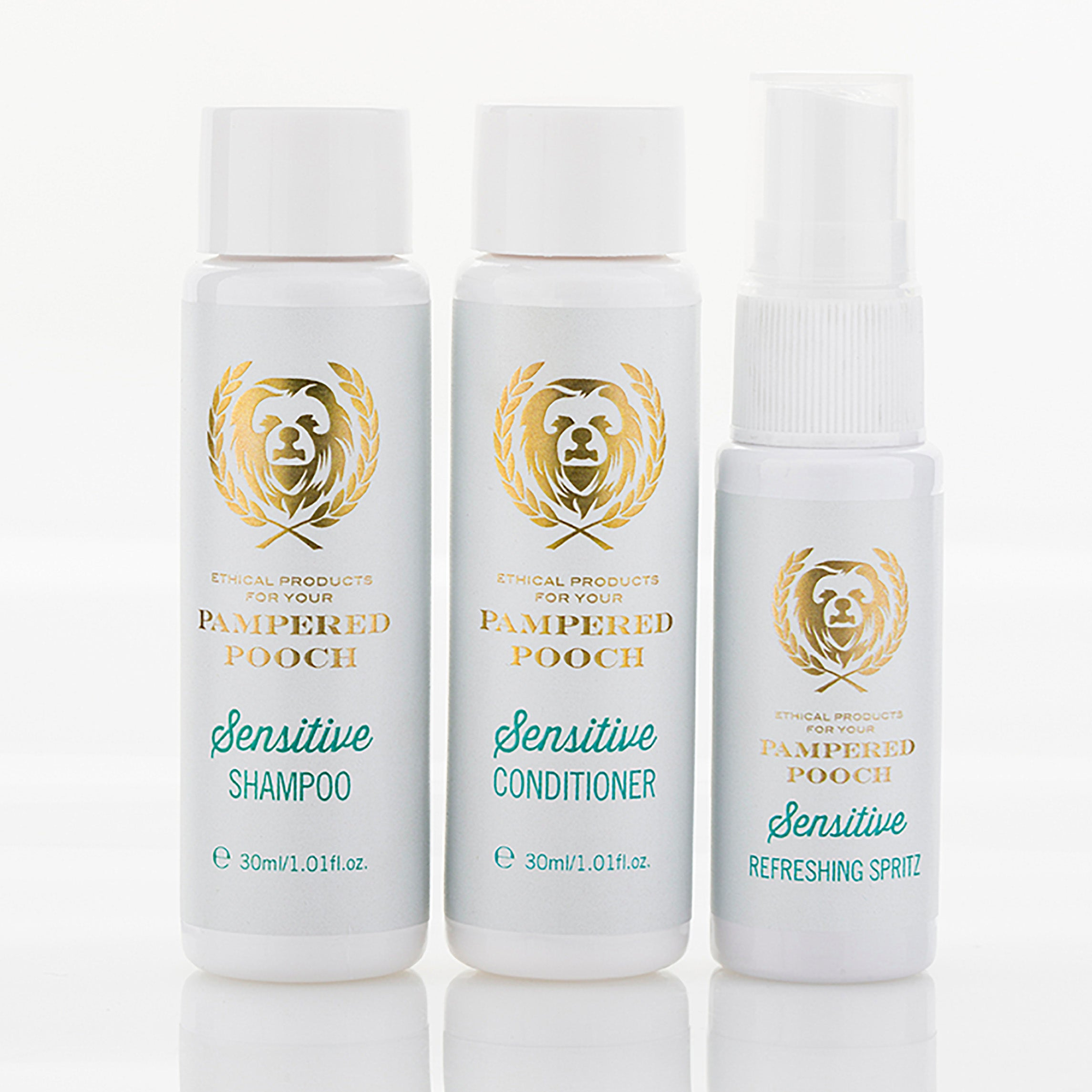 Pamper your Pooch with our Sensitive Trial Pack containing a mini Shampoo, Conditioner and Refreshing Spritz - leaving Pooch's fur soft, shiny, snuggly and smelling fresh! For dogs with itchy, sensitive skin.